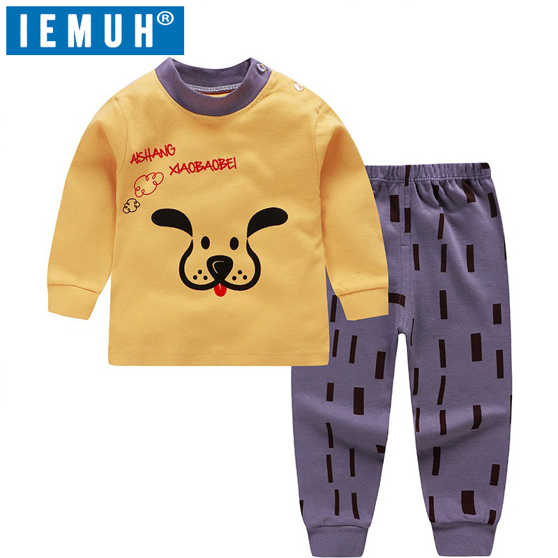 IEMUH Girls Pajamas Kids Sleepwear Children Cartoon Clothing Set Baby Long Sleeve Pijamas Home Clothing For Boys