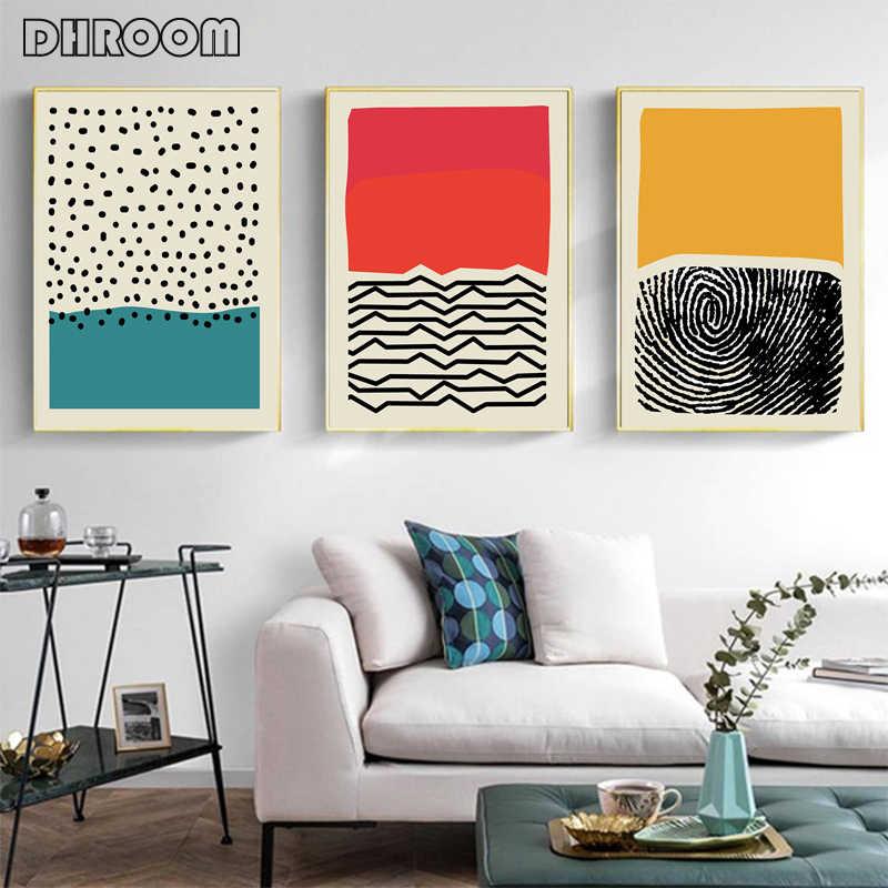 Modern renkli soyut geometrik duvar sanatı tuval yağlıboya resim posterler ve baskılar galeri çocuklar mutfak ev dekor