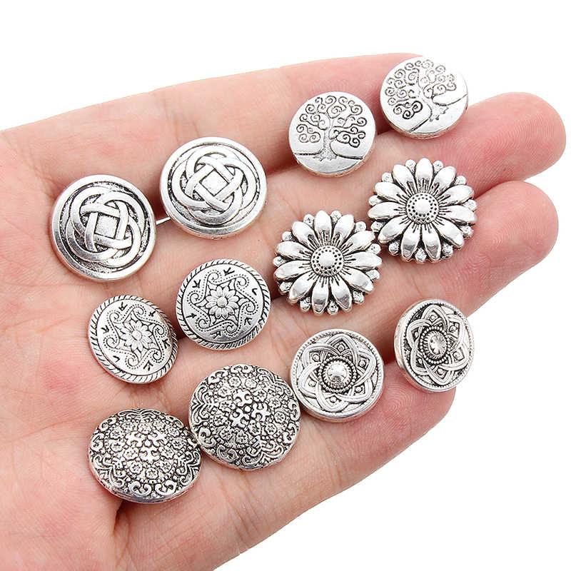 10 pçs liga de zinco haste botão botões de metal encantos redondo tibetano prata único furo flor diâmetro 1.4-1.7cm acessório de jóias