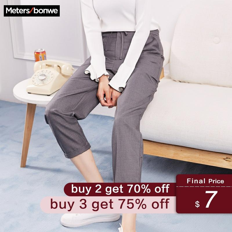 Metersbonwe Casual Harems Pants For Women Long Harems Trousers Woman High Quality Stretch Waist Office Lady Pants 753523