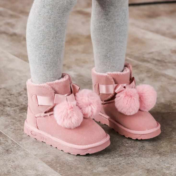 Children's Boots Cute Hair Ball Girls Snow Boots Frosted Leather Children's Shoes Winter Warm Children's Cotton Shoes