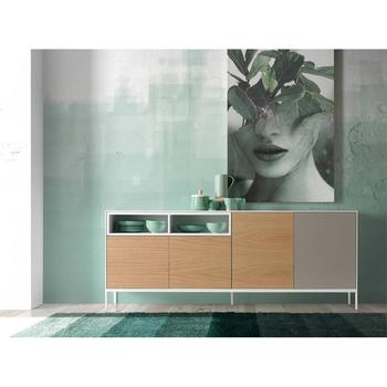 Sideboard metal structure with frontals from DM's doors and oak, dining room furniture design, GOB-5485-4 Angel Cerdá S.L