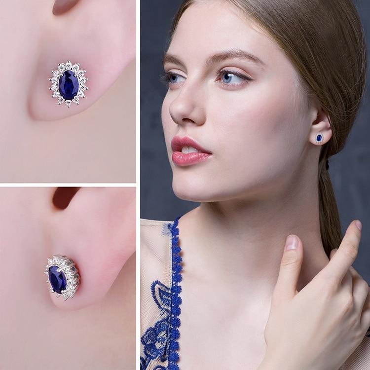 JPalace Diana Created Blue Sapphire Stud Earrings 925 Sterling Silver Earrings For Women Korean Earings Fashion Jewelry 2019