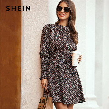 SHEIN Stand Collar Ditsy Floral Print Elegant Dress With Belt Women 2020 Spring Flounce Sleeve Ladies A Line Short Frill Dresses
