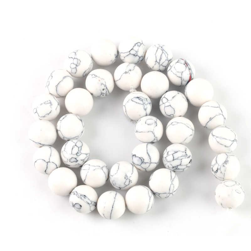 Wholesale Batu Alam Hijau Howlite Turquoises Manik-manik 4 6 8 10 12 Gelang Fit DIY Pesona Beads untuk Perhiasan Membuat
