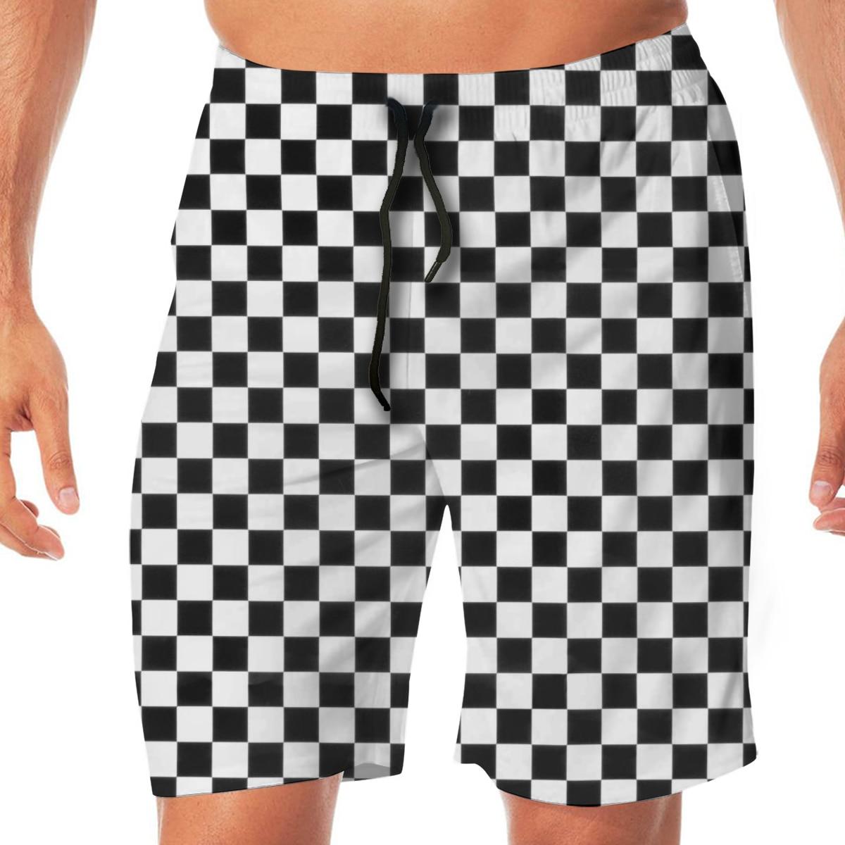 White Black Checker Swimming Shorts For Men Swimwear Man Swimsuit Swim Trunks Summer Bathing Beach Wear