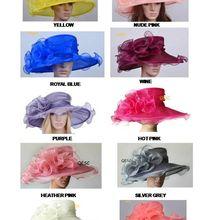 Hurtownie nowy limonkowy szeroki rondo kryształ organza kapelusze kapelusz do kościoła dla kentucky derby ślub kobiet kapelusz wyścigi. Darmowa wysyłka