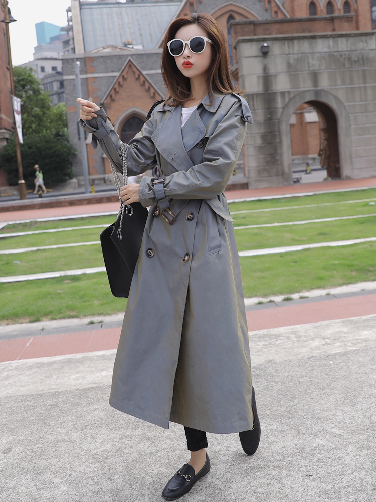 2019 British Style Victorian   Trench   Coat Waterproof Chameleon Cotton Long Femme Double-Breasted Lady Duster Coat Blue Pink