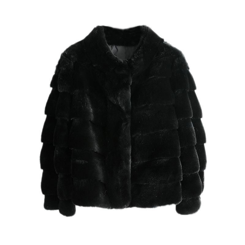 Coat Jacket Hooded Rabbit-Fur Chinchilla-Color Natural Winter Women High-Quality Real title=