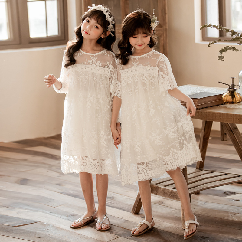 Sisters Matching Clothing Kids Girl Princess Party Wedding White Lace Dresses 4 6 8 10 12 14 years image