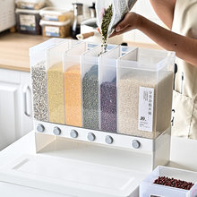 10L Wall Mounted Separate Rice Bucket Cereal Dispenser Moisture Proof Plastic Automatic Racks Sealed Metering Food Storage Box