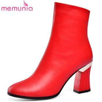 MEMUNIA 2020 Newest genuine leather shoes women ankle boots unique high heel autumn winter boots woman party wedding shoes
