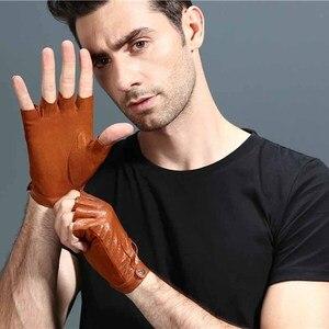 Image 3 - 指革手袋カードライビンググローブ男性の本物のユニセックス女性女性スポーツハーフフィンガー戦術的なアンチスリップ通気性