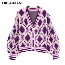 Женский свитер с v образным вырезом и рукавами фонариками мягкий