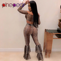 PinePear Snake Print Off Shoulder Crop Top + Wide Leg Pants 2 Piece Set Women Double Deck Flare Trousers Outfits Drop Shipping