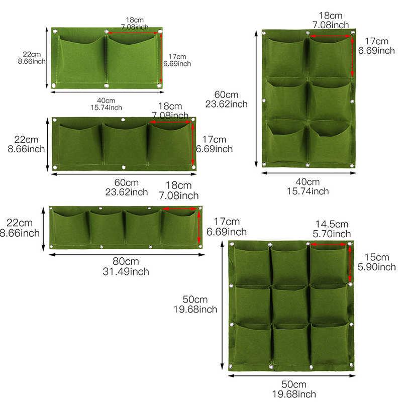 แขวนแขวนผนังปลูก 2/3/4/6/9 กระเป๋าสีเขียว Grow กระเป๋า Planter แนวตั้งผัก Living Garden กระเป๋าตกแต่งสวนใหม่ #4