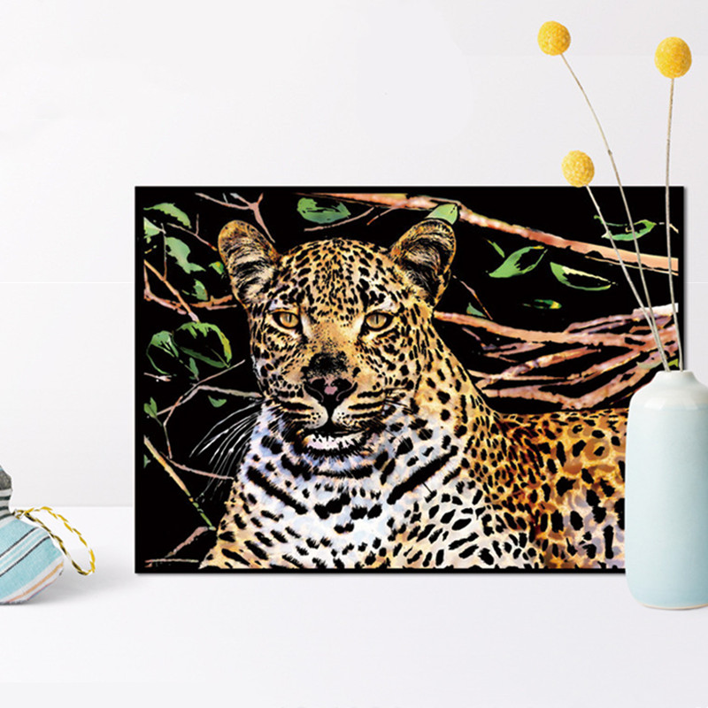 41*28cm Animal Scratch Painting Cards Tiger Diy Art Adult Crafts for Adults Scratch Paper Home Decor Drawing Decompression Toys