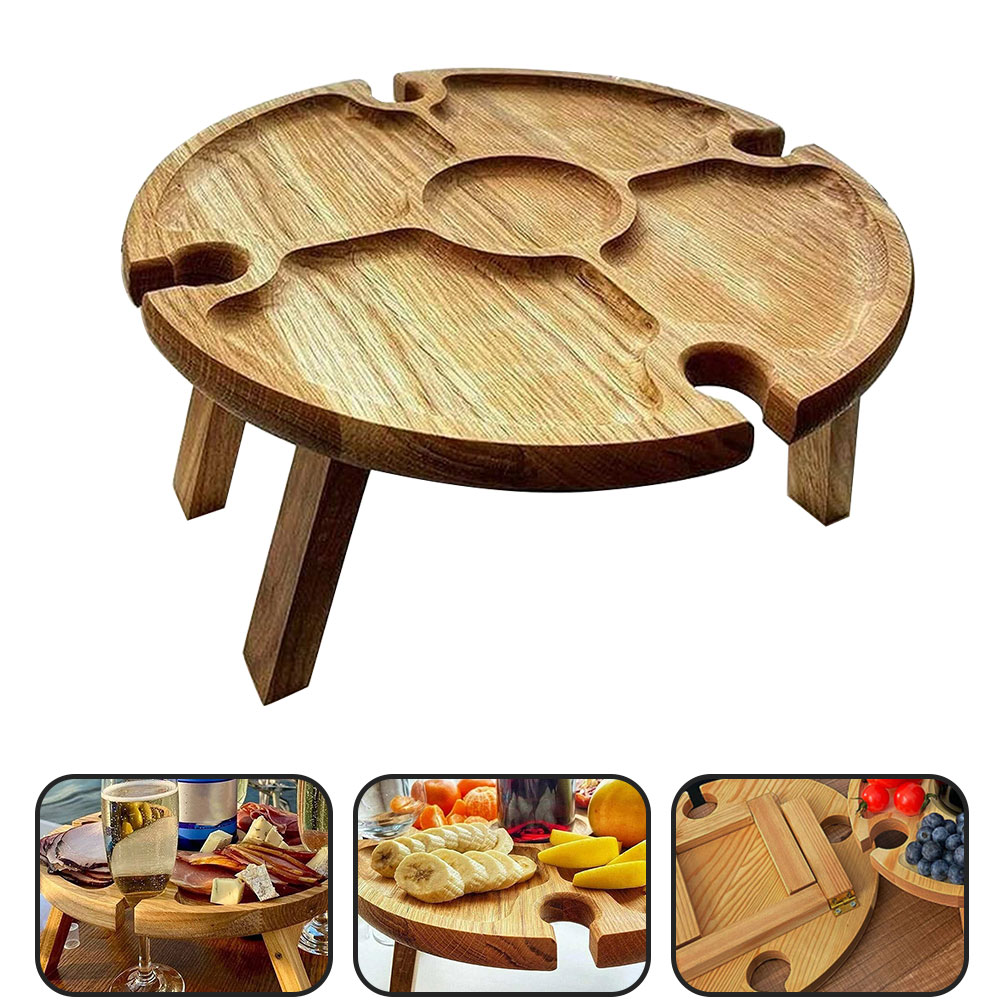 Wooden Picnic Table Folding Mini Portable Travel Fruits Table With Wine Glass Rack Travel Small Beach Outdoor Picnic Table