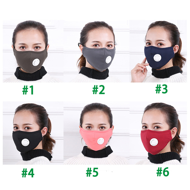 Tcare Fashion Cotton Face Mask Respirator Washable Reusable Mouth Masks + 2Pcs Activated Carbon Filter PM2.5 for Men Women 4