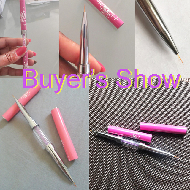 Nail Art Liner Brush Tool Carved Crystal Ultra-thin Line Drawing Pen Pull Wire Phototherapy Flower Double Pen Metal Pen 1