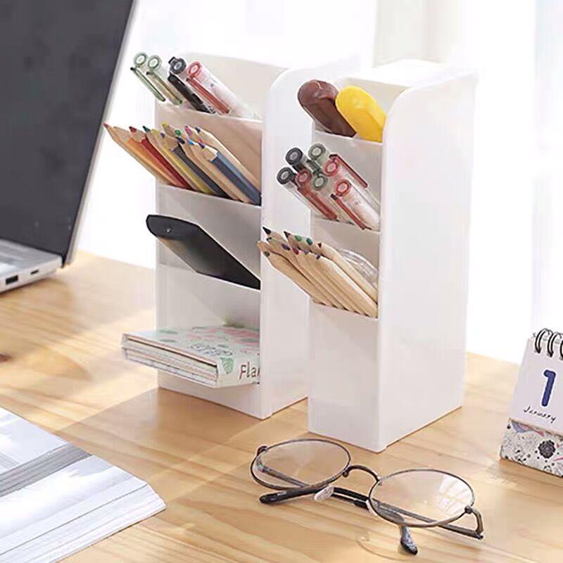 Sharkbang 2PCS Multifunctional 4 Grid Pure Color Pen Holder Desktop Organizer Storage Box Makeup Holder School Stationery