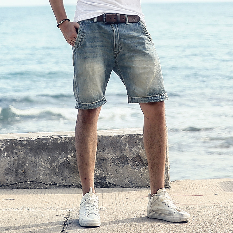 Men's Skinny Short Jeans 2019 Summer Fashion Casual Washed Straight Knee Length Brand Male Tight Denim Shorts KZ931
