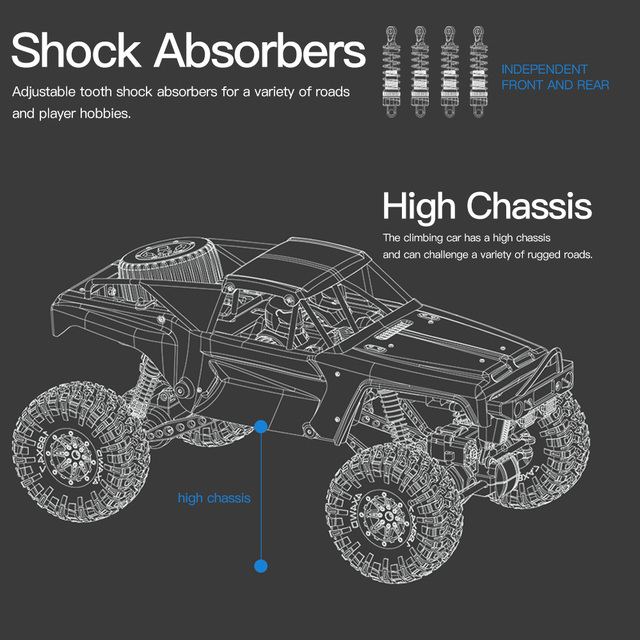 Wltoys 104310 RC Car 1/10 Climbing Car 4WD Dual Motor RC Buggy Off Road 2.4G Remote Control Car Gift Toy for Kids RTR 4