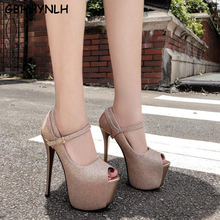 GBHHYNLH gold Pumps bling Shoes High Heels Sexy Fashion Thin Heels Platform Spring Autumn Buckle Peep Toe Party heels  LJA798 mary jane chunky high heels platform buckle women s pumps fashion party spring autumn spring shoes