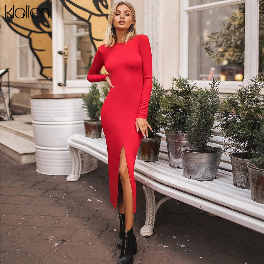 KLALIEN autumn club party night simple backless midi dress Women 2019 Elegant stretch Slim red black Medium bodycon dress mujer