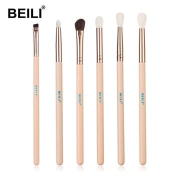BEILI Matte Pink Makeup Brushes Set goat hair Powder Foundation Concealer Blush Eyeshadow rose gold natural hair Make up brushes 16