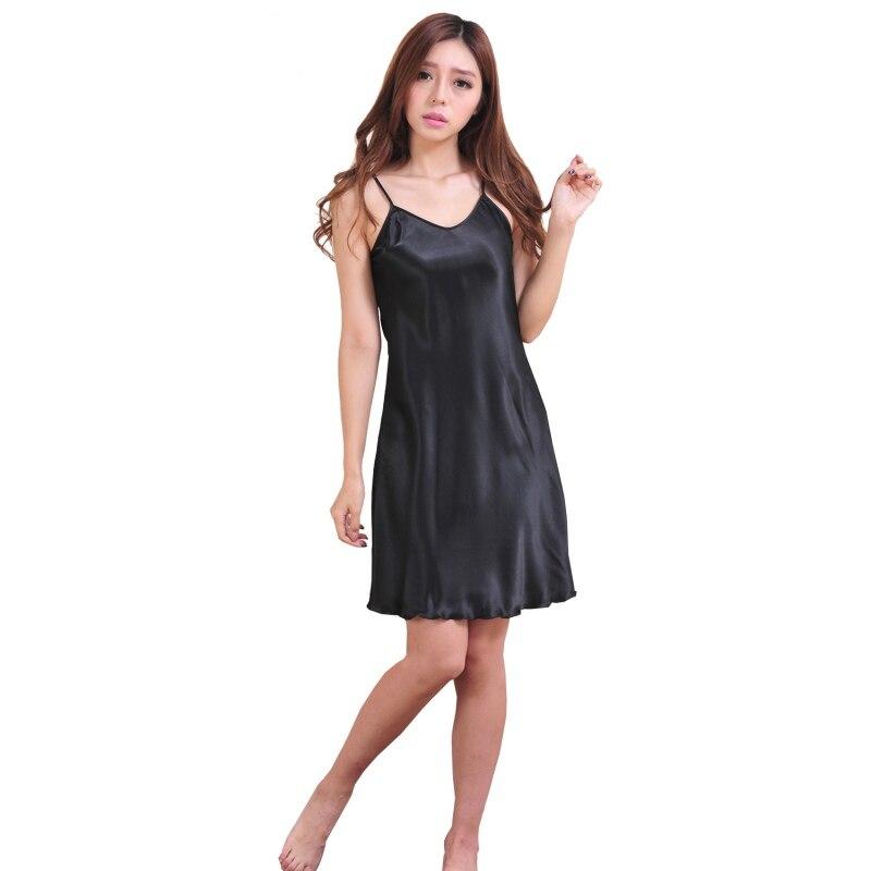 Black Nightdress Women Sexy Girls Sleepwear Nightshirts Satin Chemises Slip Sleepwear Women Sleep Lounge   Nightgowns     Sleepshirts