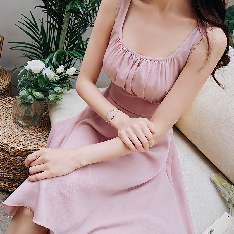 Dabuwawa Women Sexy High waist Slim Pink Dress 2019 New Summer Sleeveless Swing Hem Pleated Dress
