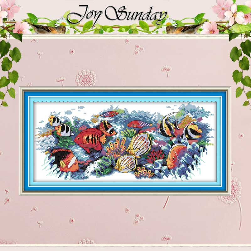 Tropical Fish Patterns Counted Cross Stitch 11CT 14CT Cross Stitch Set Wholesale Chinese Cross-stitch Kits Embroidery Needlework