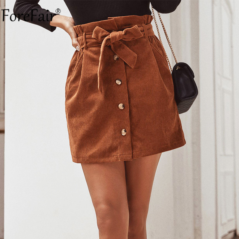 Forefair Women Corduroy Skirt Casual Sashes Button Brown Spring Autumn With Belt Ladies High Waist Pocket Mini Skirt