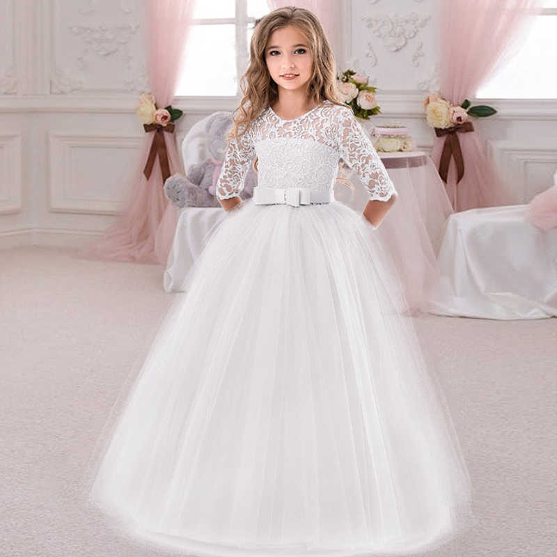 2020 Winter White Bridesmaid Girl Party Dress Wedding Dress Kids Dresses For Girls Children Clothing Princess Dress 10 12 Years Dresses Aliexpress