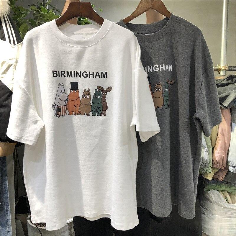 Cute Cartoon Printing Summer Korean 2020 New Women's Short-sleeved T-shirt Women Casual Loose Large Version Student Jacket Women
