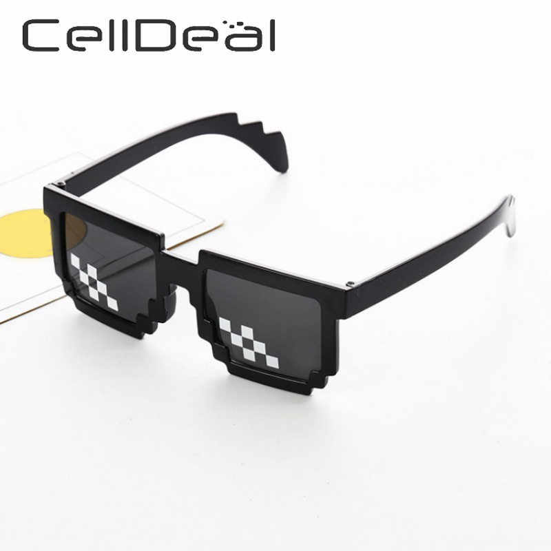 CellDeal Men Women 8 Bit Coding Pixel Thug Life Mosaic Glasses Sunglasses Trendy Cool Super Party Funny Vintage Shades Eyewear