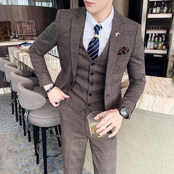 ( Jacket + Vest + Pants ) Boutique Fashion Mens Plaid Casual Business Suit High-end Social Formal Suit 3 Pcs Set Groom Wedding 16