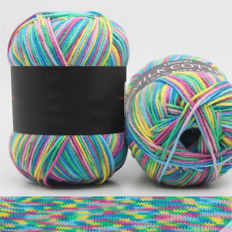 5 Rolls Multicolor Gradient Cotton Yarn Segmental Dyeing Gradient DIY <font><b>Hand</b></font> <font><b>Knitting</b></font> <font><b>Crochet</b></font> Three-Ply Wool Yarn (Mixed Color) image