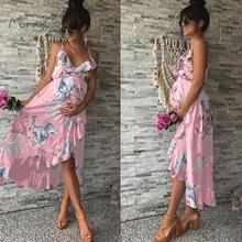 Платья для беременных Одежда для беременных элегантное платье для беременных Повседневный цветочный принт оборки Falbala сарафан для беремен...