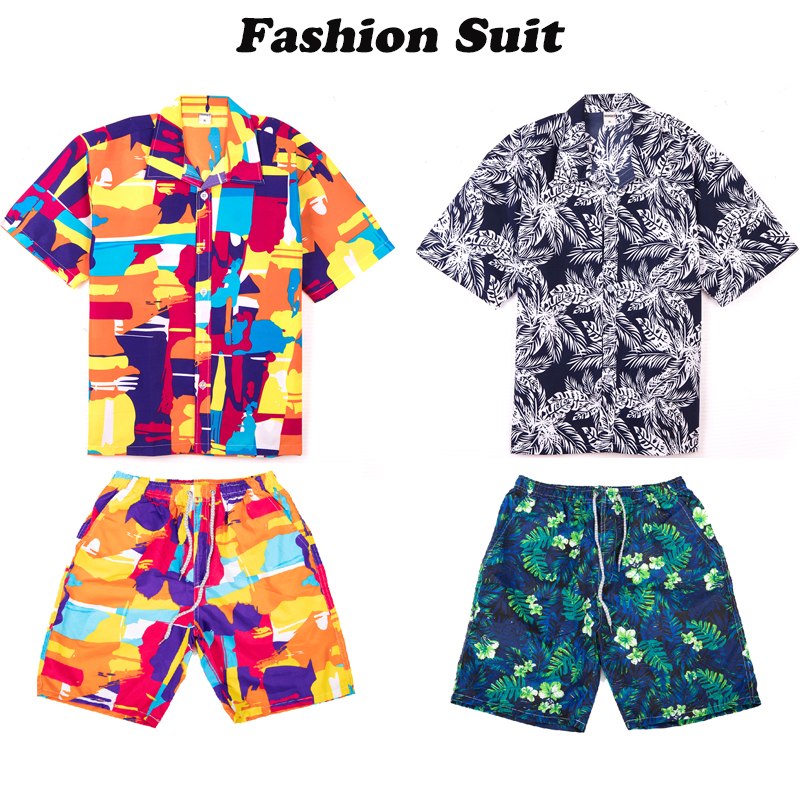 Men's Summer Casual Beach Pants Casual Tops Set With Fashion Men's Quick Dry Swim Trunks Bathing Suit 2019 New