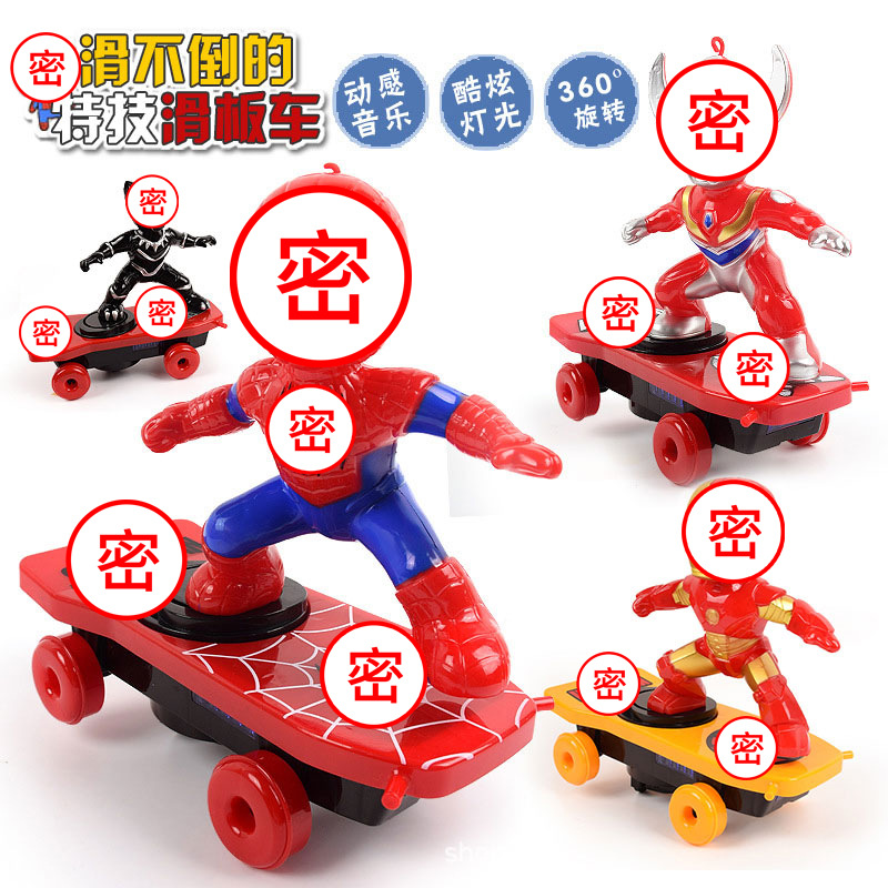 Spider Douyin Celebrity Style Man Stunt Scooter Electric Universal Rotating Roll Music Lights Children Cartoon Toys