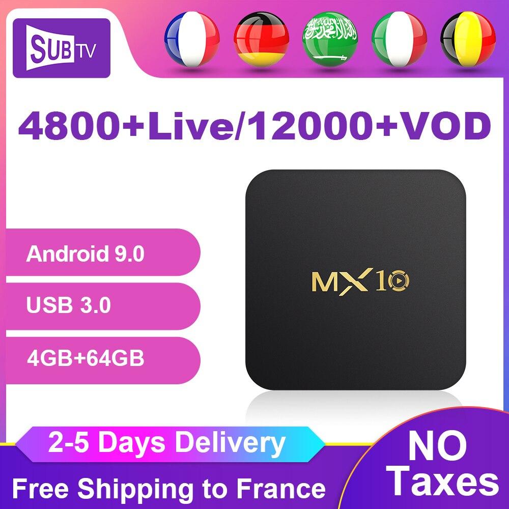 MX10 IP ТВ Франция Германия Подписка Box Android 9,0, 4 ГБ, 64 ГБ, USB3.0 RK3328 SUB ТВ 1 год товара французский Бельгии арабский голландский IP ТВ