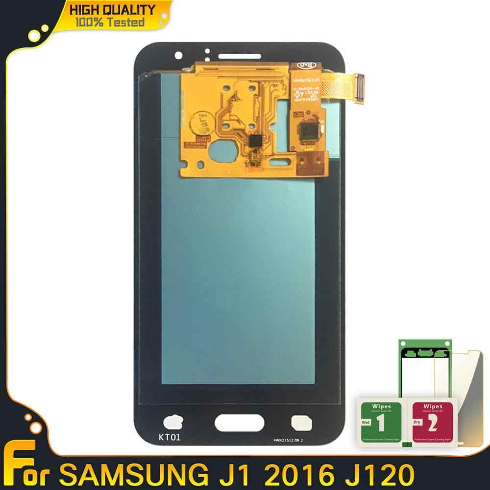 100% جديد شاشات الكريستال السائل لسامسونج غالاكسي J1 J120 2016 J120F J120H J120M شاشة الكريستال السائل شاشة عرض تعمل باللمس قطع غيار محول رقمي الجمعية