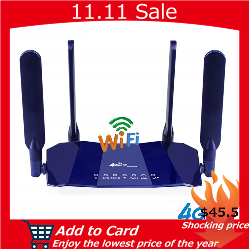 KuWfi 4G LTE CPE Router 300Mbps CAT4 Wireless Routers Unlocked Wifi FDD RJ45Ports&Sim Card Slot Up to 32users