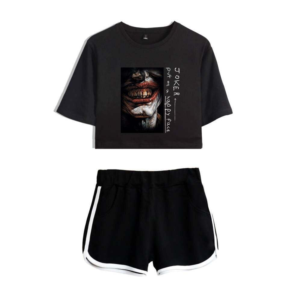Frdun Tommy Joaquin Phoenix Movie Joker 2019 Gotham Fleck The Joker Women Two Piece Set Shorts+lovely T-shirt Hot Sale Clothes