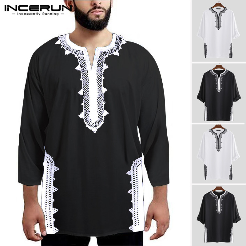 INCERUN Printing Men Long Sleeve T Shirts Ethnic Style V Neck Breathable Vintage Tops Dashiki T-shirts Men African Clothing 2020