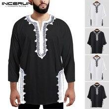 Camisetas de manga larga para hombre con estampado de INCERUN, camisetas Vintage transpirables con cuello en V de estilo étnico Dashiki, ropa africana para hombre 2020