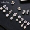 Модные серьги-подвески всех типов с искусственным жемчугом и фианитом, элегантные женские свадебные серьги для невесты, ювелирные изделия ...