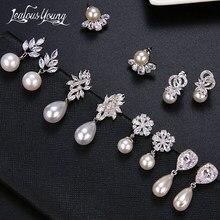 Brincos de pérolas de imitação de todos os tipos, brincos para casamento femininos elegantes com zircônia cúbica